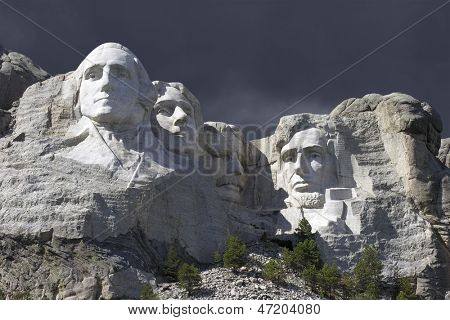 Mt Rushmore National Park with Thunderstorm Sky.