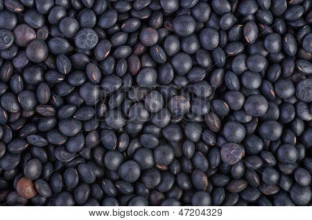 Background of black Beluga Lentils