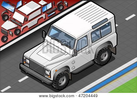 Isometric White Cross Country Vehicle In Front View
