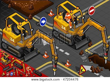 Isometric Mini Chisel Excavator in Front View