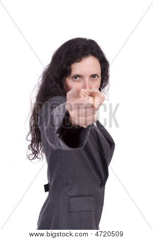 Business Woman Pointing Forward