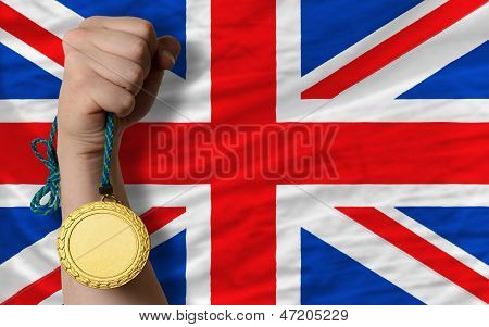 Gold Medal For Sport And  National Flag Of United Kingdom