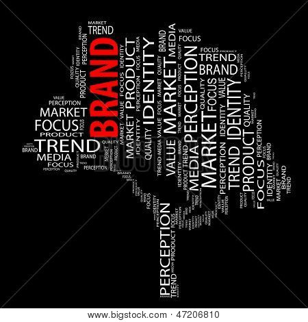 High resolution concept or conceptual tree brand word cloud on black background wordcloud