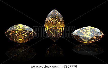 Marquis. Citrine. Jewelry gems on black background