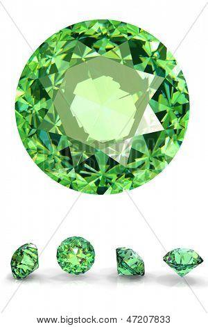 Round Jewelry gems isolated on white background. Gemstone