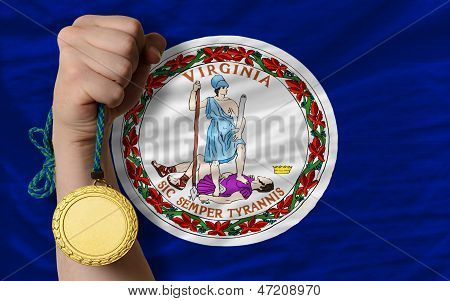 Gold Medal For Sport And  Flag Of American State Of Virginia