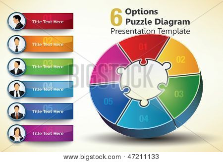 Six sided presentation template with title text and business people portraits, used for infographic designs