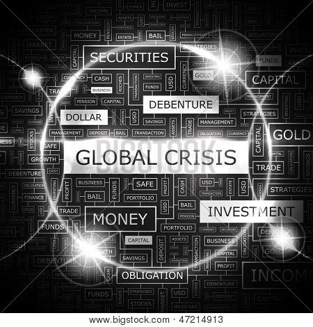 GLOBAL CRISIS. Word cloud concept illustration.