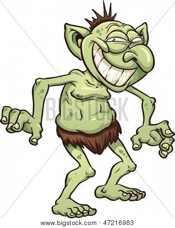 Cartoon troll. Vector clip art illustration with simple gradients. All in a single layer.