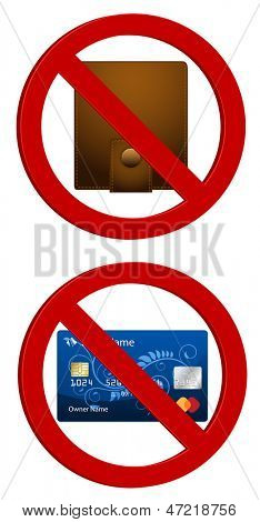 purse and credit card with stop sign