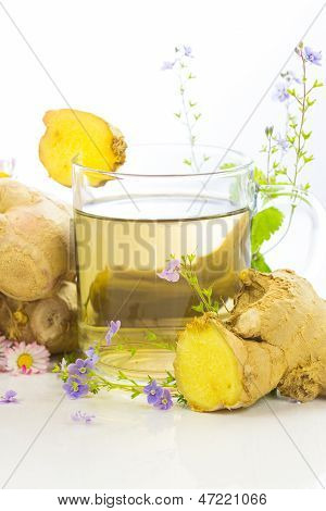 Fresh Herbal Tea With Root Ginger