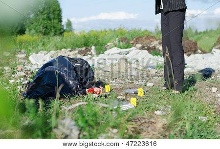 Crime Scene With Corpse And Evidence