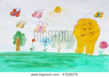 Children's Drawing With Butterflies And Lion