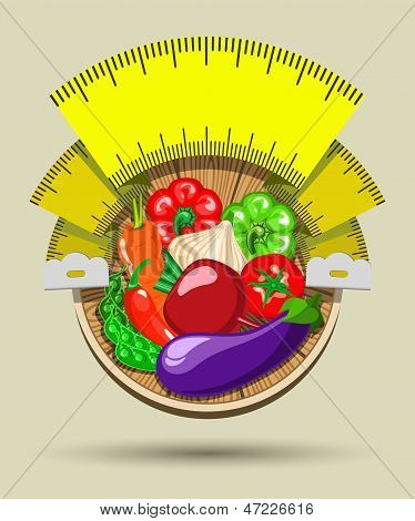 Dieting sticker with vegetables and a measuring tape