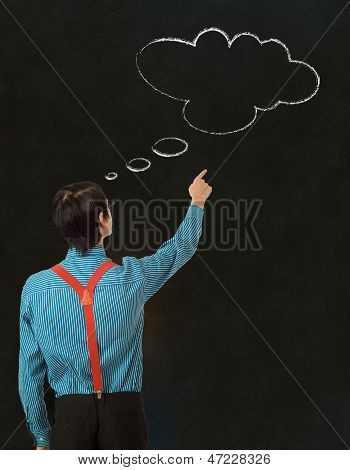 Nerd Geek Businessman Thinking Chalk Cloud Blackboard Background