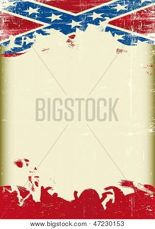 Grunge Confederate old flag. A poster with a large scratched frame and a grunge confederate flag for your publicity.
