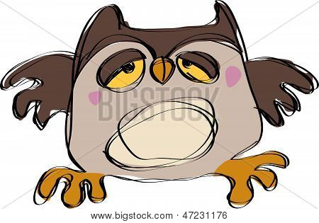 Cartoon Brown Baby Owl In A Naif Childish Drawing Style