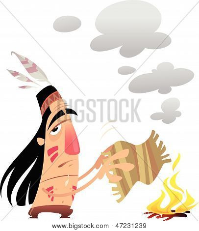 Cartoon Indian Man Sending A Message With Smoke Signals