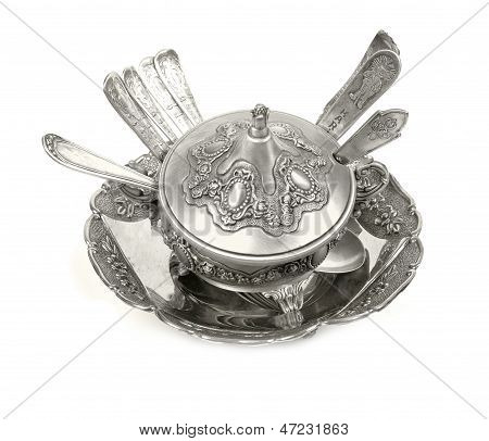 Old antique silverware  cutlery