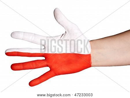 White And Red Hand