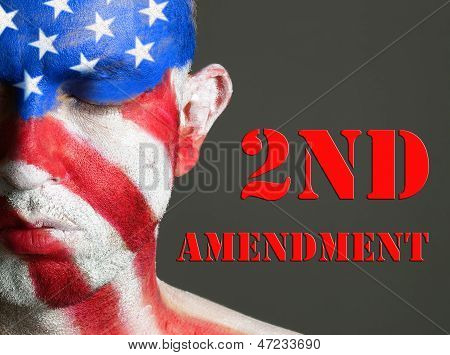 Man Face Flag Usa, 2Nd Amendment, Closed Eyes