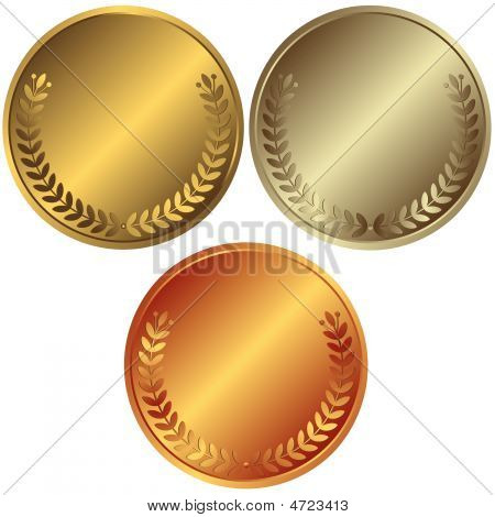 Gold, Silver And Bronze Medals (vector)
