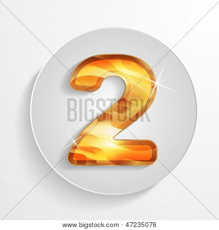 Vector light circle icon golden wood number