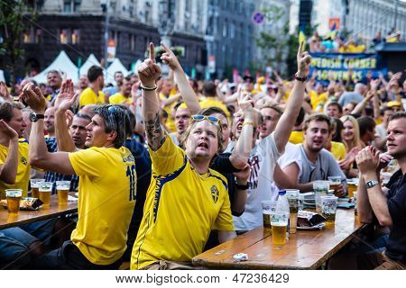 Kiev, Ukraine - June 10: Swedish Fans Have Fun During Uefa Euro 2012 On June 10, 2012 In Kiev, Ukrai