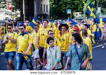Kiev, Ukraine - June 11: Cheering Sweden Fans Go To Stadium Before Match Euro 2012 On June 11, 2012