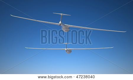 Two Gliders On The Blue Sky