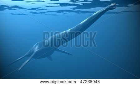 Plesiosaur under water