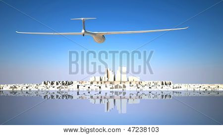 Glider Flying To The City
