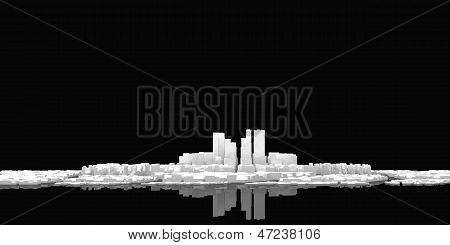 Abstract White City On The Black