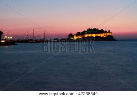 Night Wiev Kusadasi Castle With Ligths