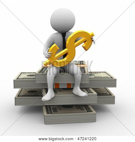 3D Businessman And Dollar