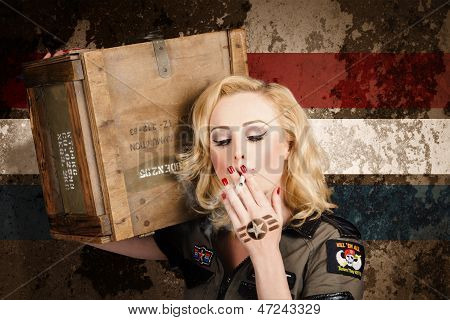 Female Pin-up Solider Smoking Cigarette Ration