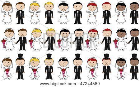 Amplio conjunto de Vector novia y el novio Stick Figures