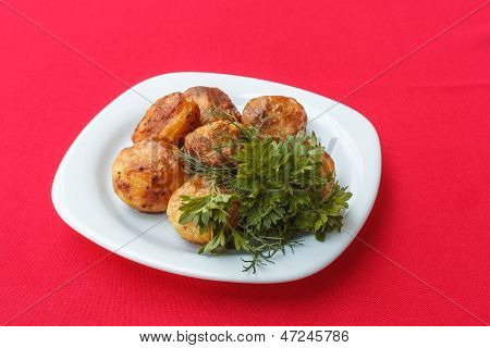 Baked Potatoes With Dill And Parsley