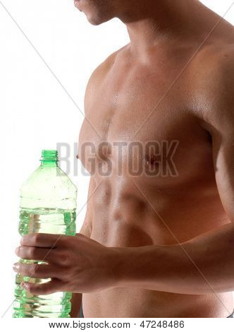 Healthy man holding and drinking bottle water.