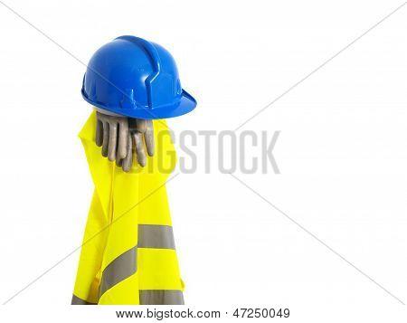 Reflective Vest, Helmet And Safety Gloves