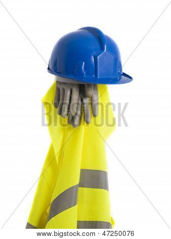 Reflective Vest, Helmet And Gloves