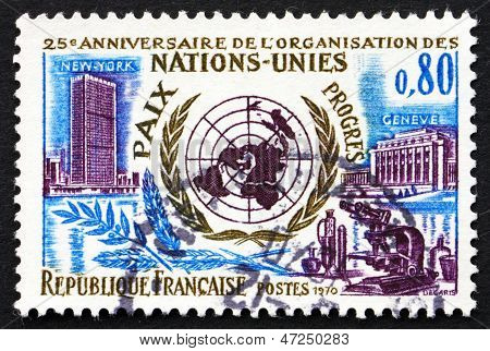 Selo postal sede das Nações Unidas de França de 1970 em Nova Iorque e Genebra