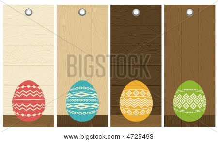 Four Color Easter Eggs Over Wooden Labels, Vector Illustration
