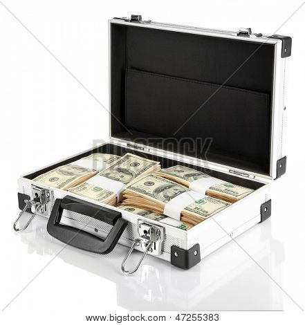 Suitcase with 100 dollar bills isolated on white