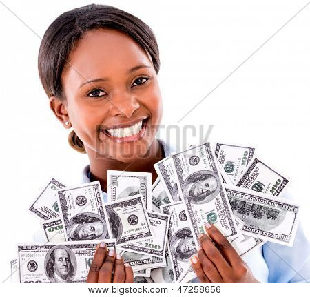 Rich business woman holding dollar bills - isolated over white