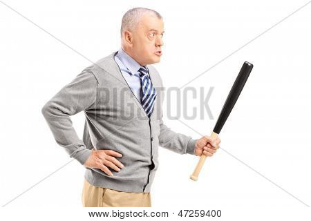 Angry middle aged man holding a baseball bat, isolated on white background