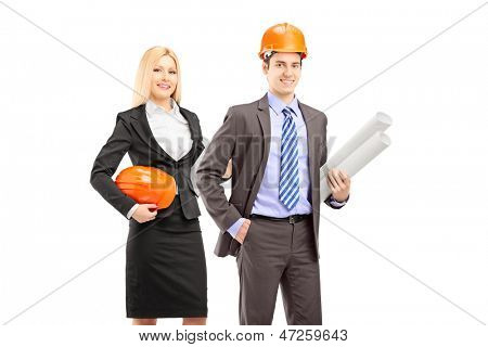 Two architects in suit holding blueprints against white background