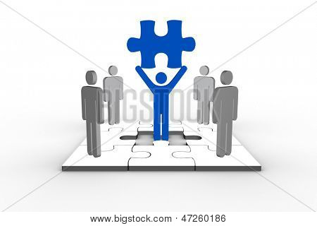 Blue human form brandishing jigsaw piece with other human figures standing around on white background over jigsaw puzzle