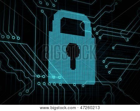 Cadeado digital azul na placa de circuito azul