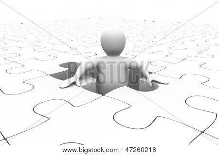 White human representation standing in the middle of jigsaw puzzle on white background